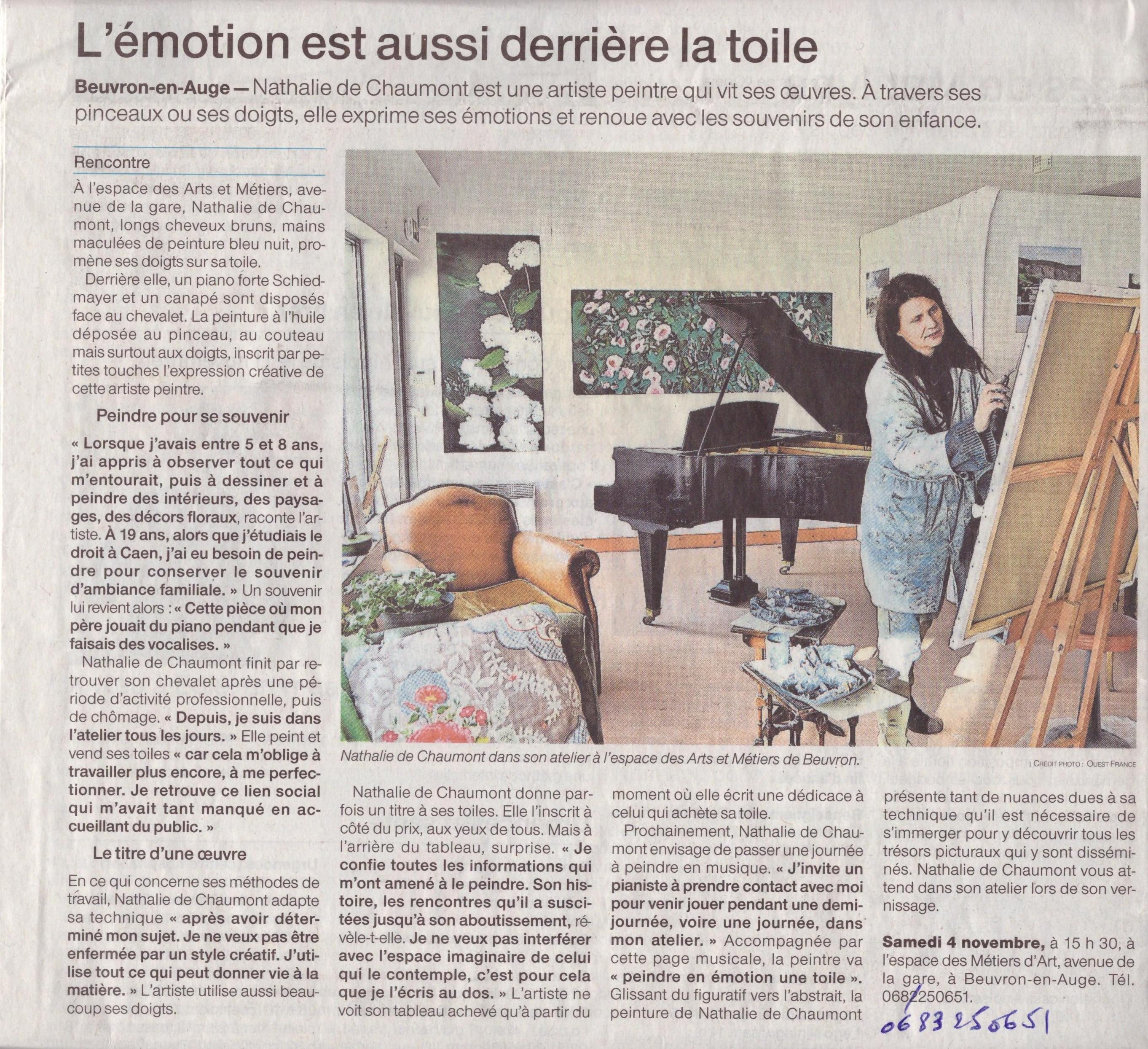 article Ouest France Pays d'Auge du week-end du 4 et 5 novembre 2017